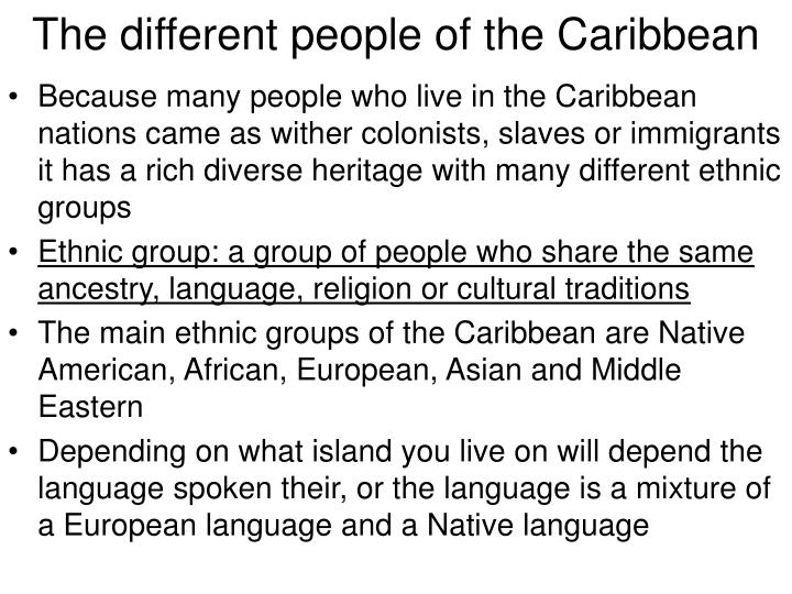 The different people of the Caribbean