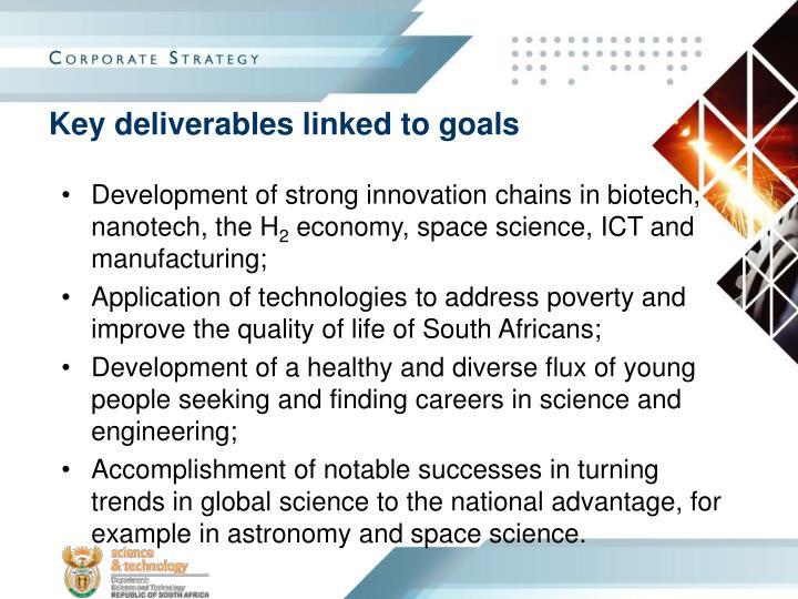 Key deliverables linked to goals