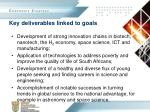 key deliverables linked to goals