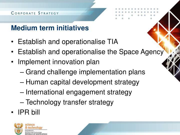 Medium term initiatives