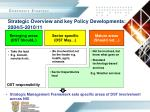 strategic overview and key policy developments 2004 5 2010 11