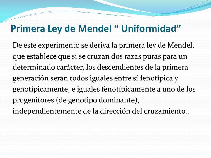"""Primera Ley de Mendel """" Uniformidad"""""""