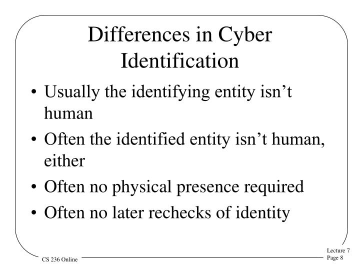 Differences in Cyber Identification