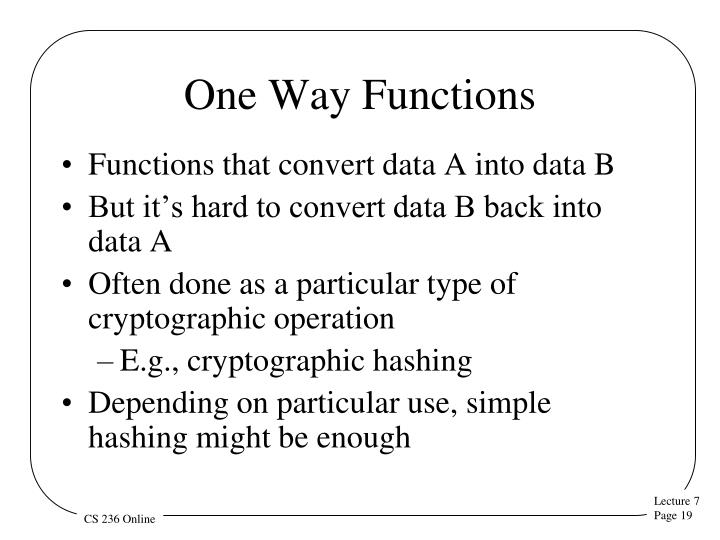 One Way Functions