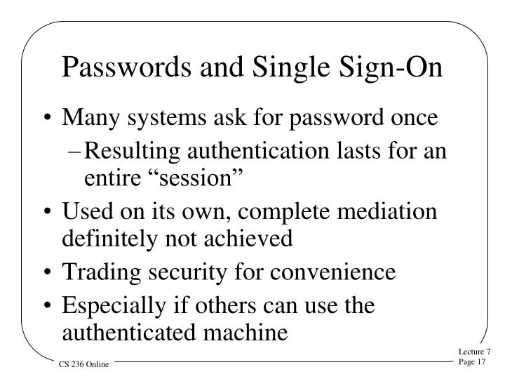 Passwords and Single Sign-On