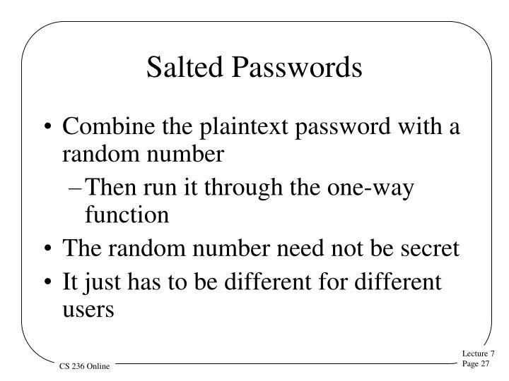 Salted Passwords