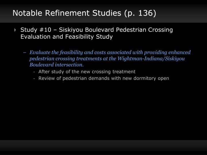 Notable Refinement Studies (p. 136)