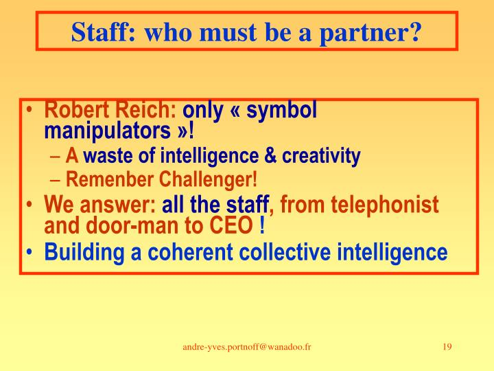 Staff: who must be a partner?