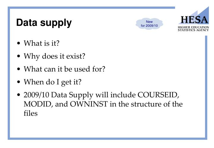 Data supply