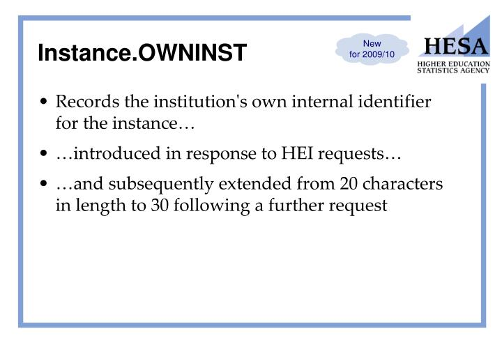 Instance.OWNINST