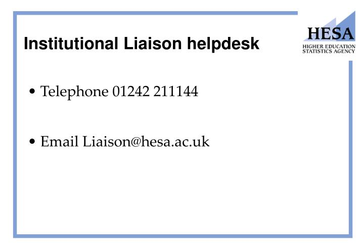Institutional Liaison helpdesk