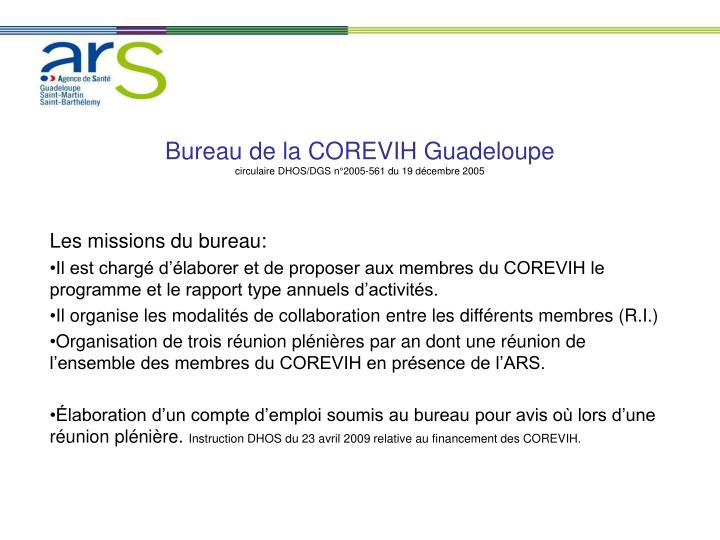 Bureau de la COREVIH Guadeloupe
