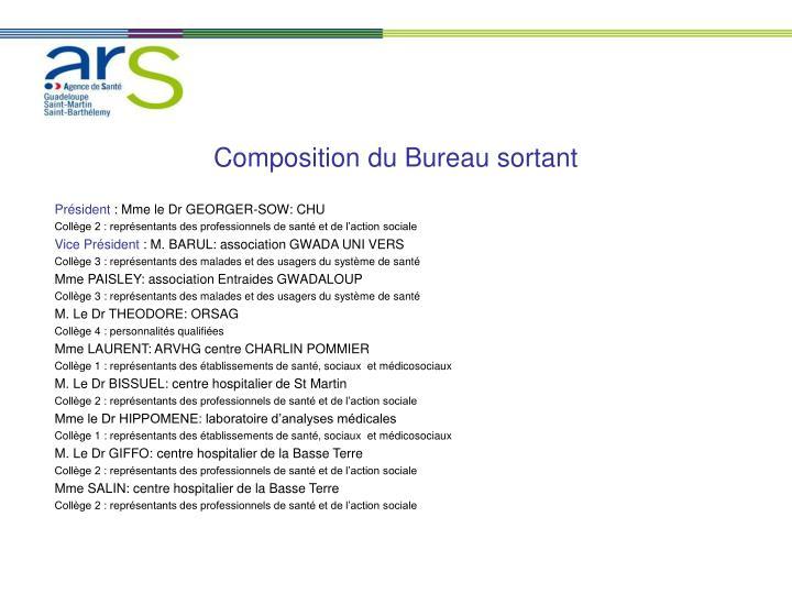 Composition du Bureau sortant