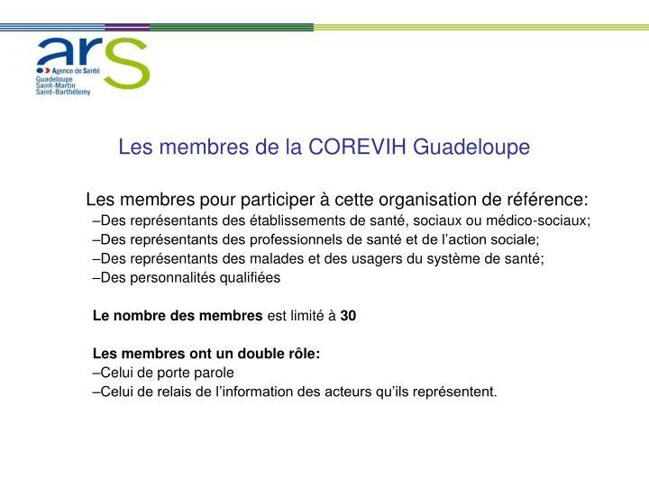 Les membres de la COREVIH Guadeloupe