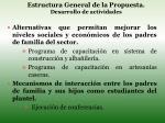 estructura general de la propuesta desarrollo de actividades