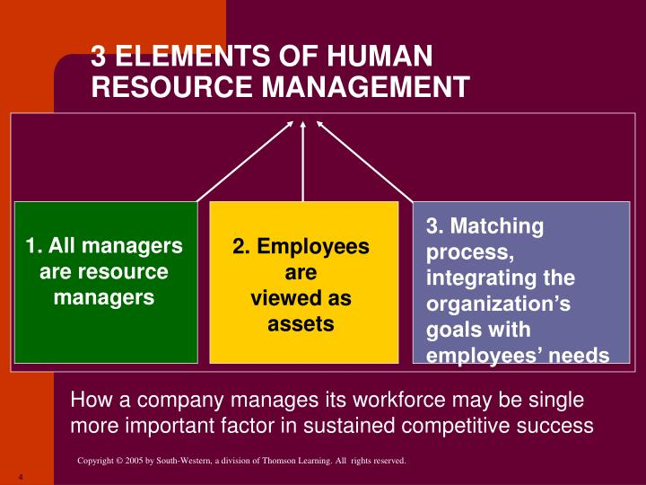 3 ELEMENTS OF HUMAN RESOURCE MANAGEMENT