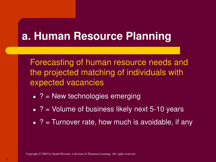 a. Human Resource Planning