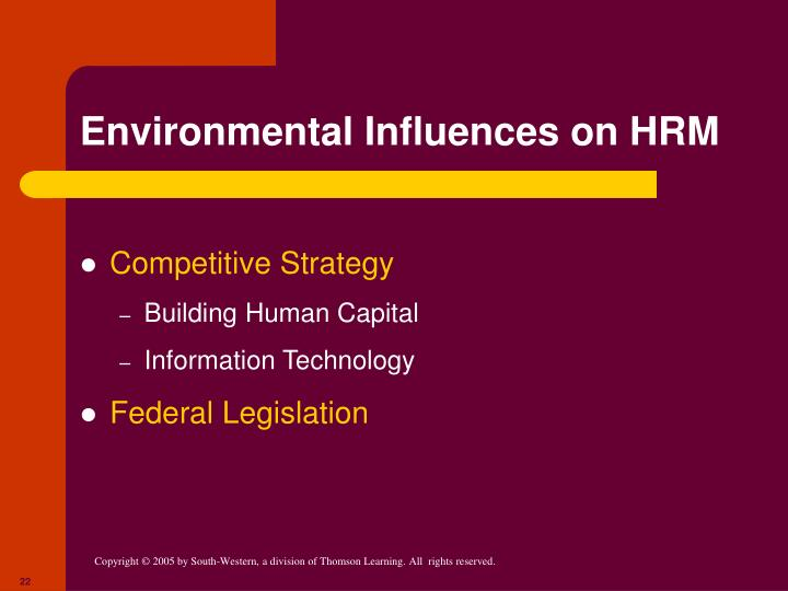 Environmental Influences on HRM
