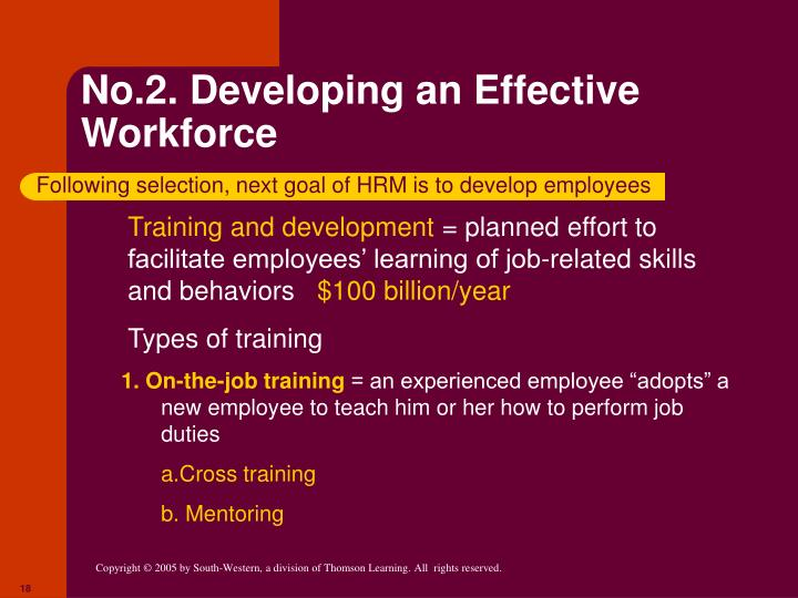 No.2. Developing an Effective Workforce