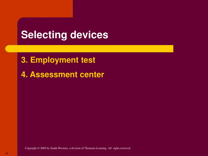 Selecting devices