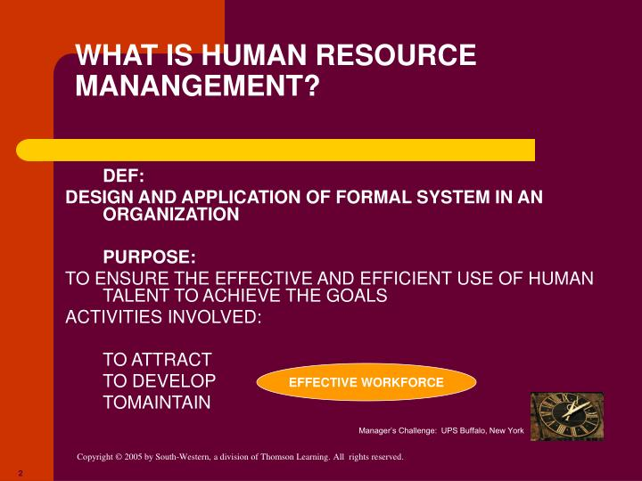 WHAT IS HUMAN RESOURCE MANANGEMENT?