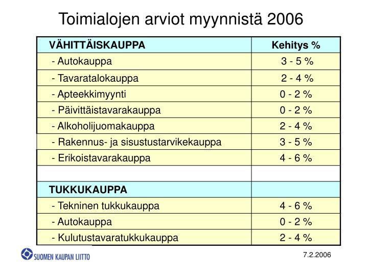 Toimialojen arviot myynnistä 2006