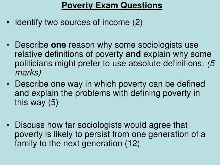 Poverty Exam Questions