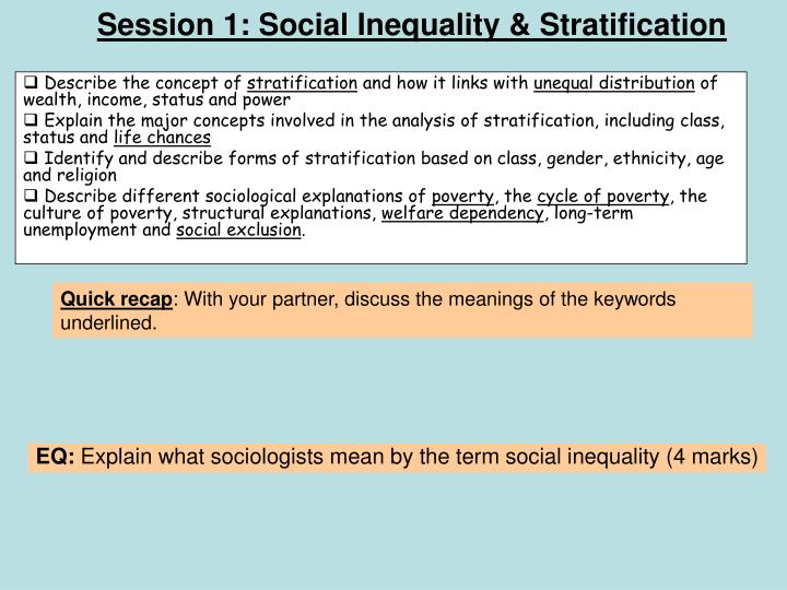 Session 1 social inequality stratification
