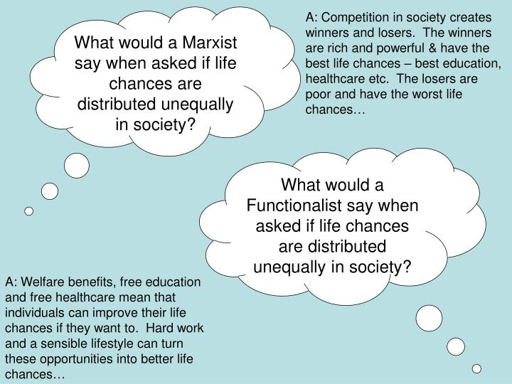 What would a Marxist say when asked if life chances are distributed unequally in society?
