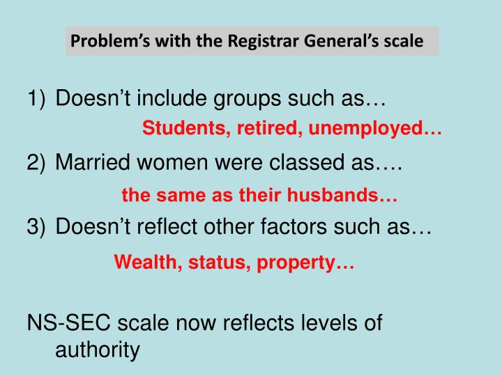 Problem's with the Registrar General's scale