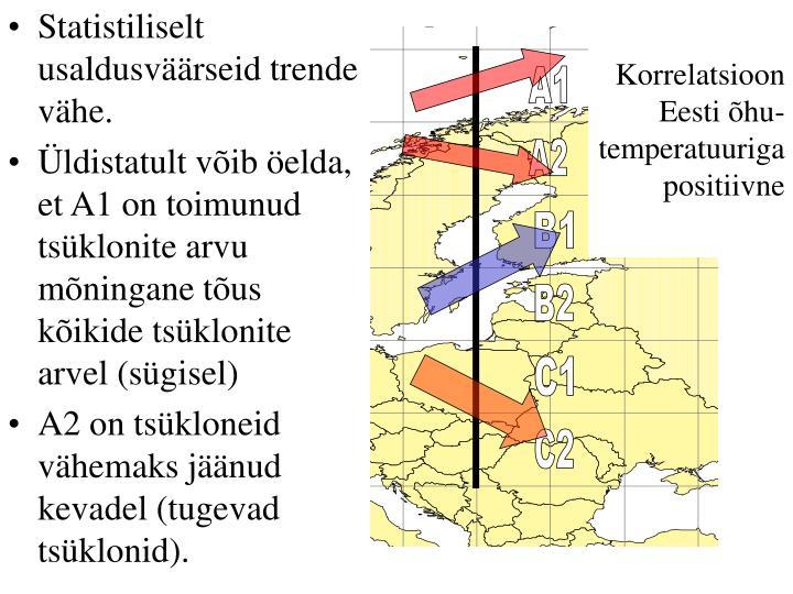Korrelatsioon Eesti õhu-temperatuuriga positiivne