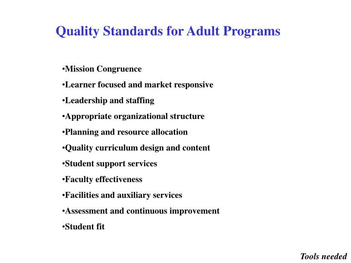 Quality Standards for Adult Programs