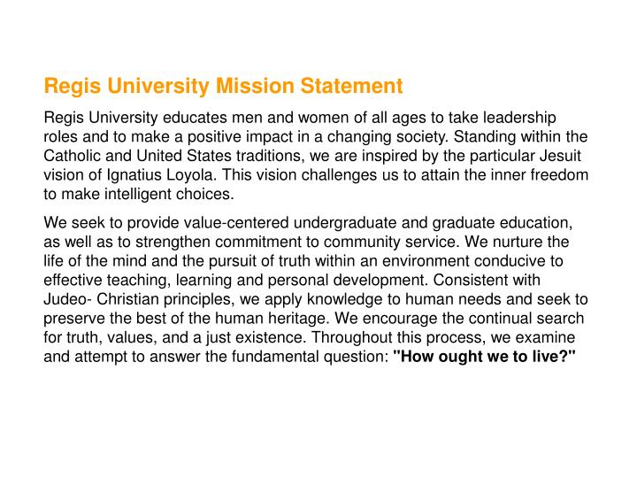 Regis University Mission Statement