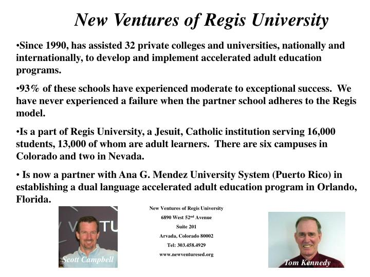 New Ventures of Regis University