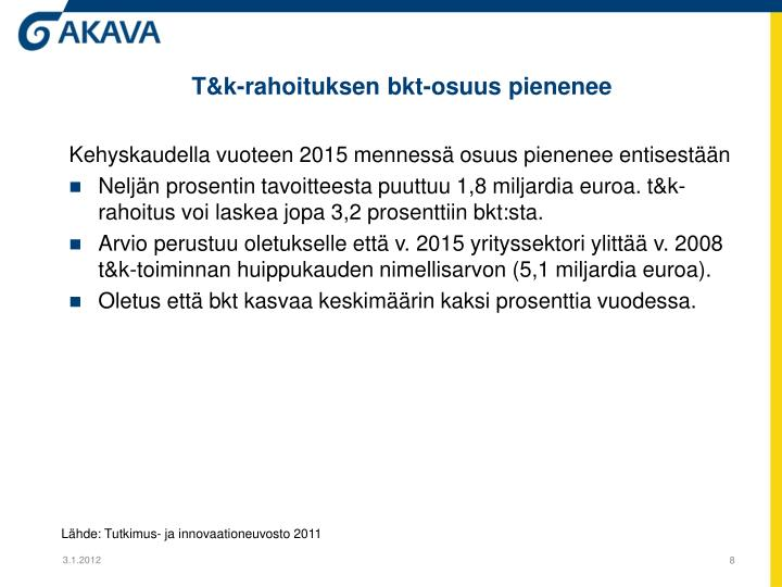 T&k-rahoituksen bkt-osuus pienenee
