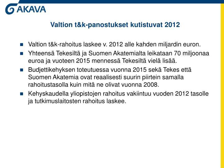 Valtion t&k-panostukset kutistuvat 2012