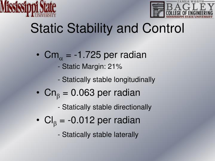 Static Stability and Control