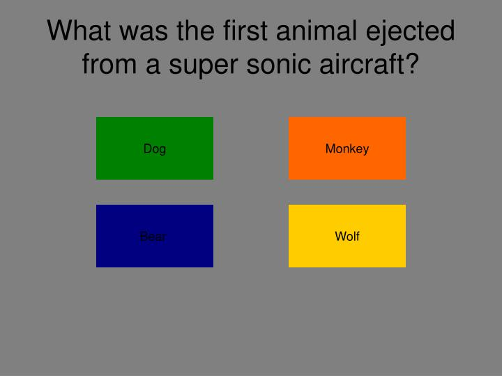 What was the first animal ejected from a super sonic aircraft?