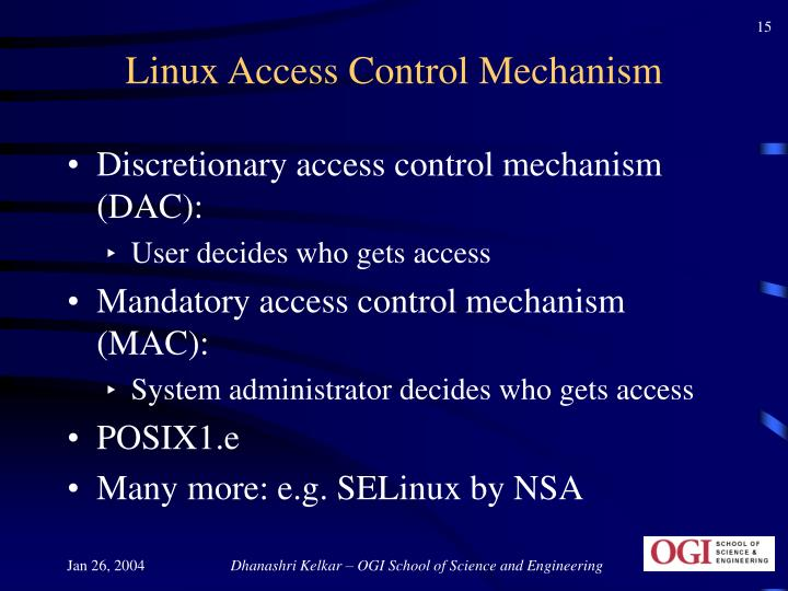 Linux Access Control Mechanism