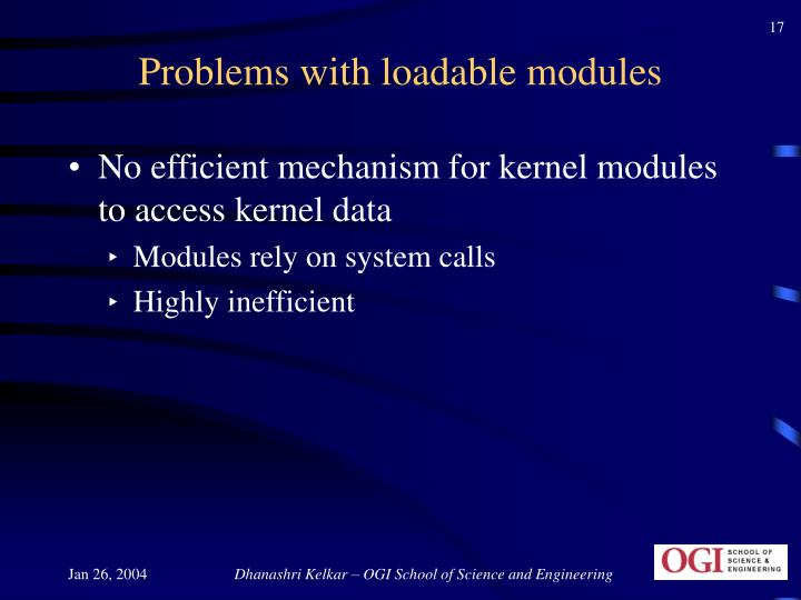 Problems with loadable modules