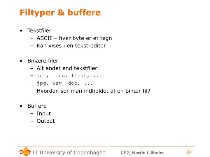 Filtyper & buffere