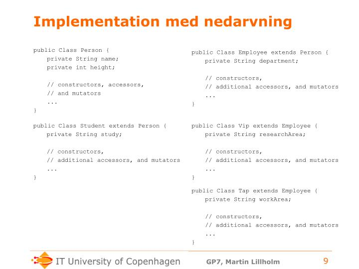 Implementation med nedarvning