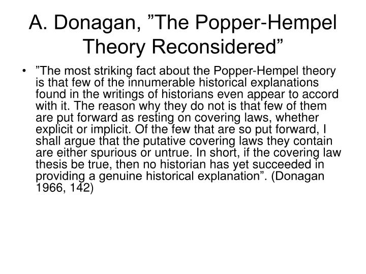 "A. Donagan, ""The Popper-Hempel Theory Reconsidered"""