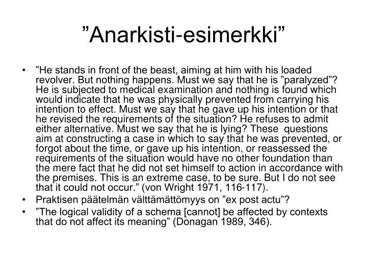 """""""Anarkisti-esimerkki"""""""