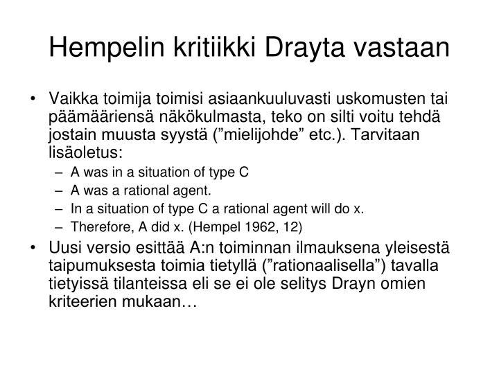 Hempelin kritiikki Drayta vastaan