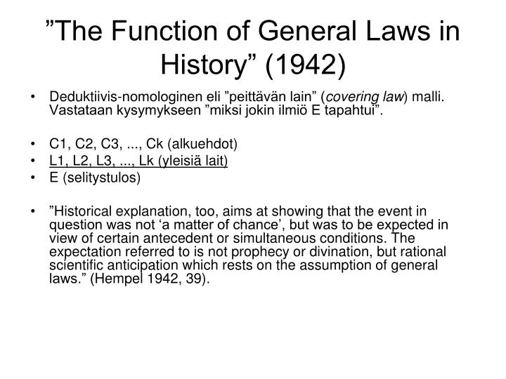 """The Function of General Laws in History"" (1942)"
