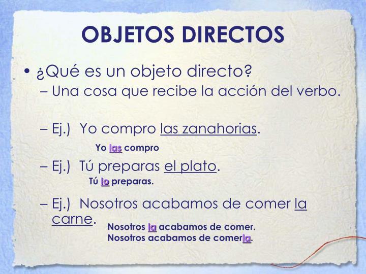 OBJETOS DIRECTOS