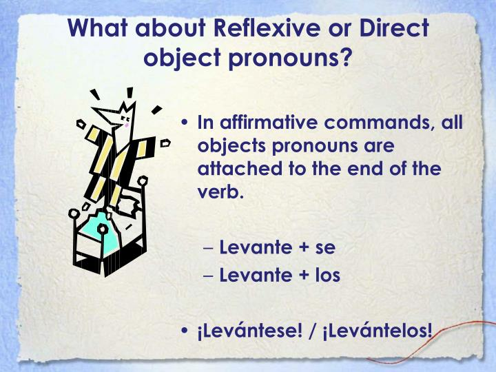 What about Reflexive or Direct object pronouns?