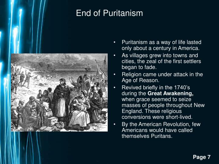 End of Puritanism