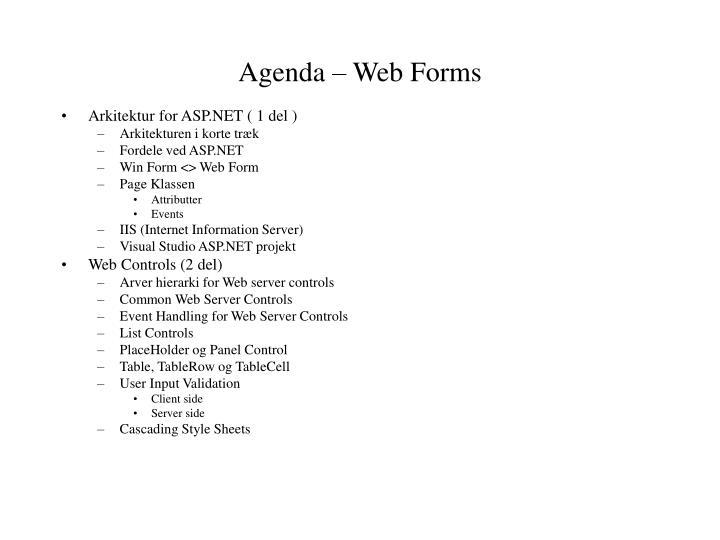 Agenda – Web Forms